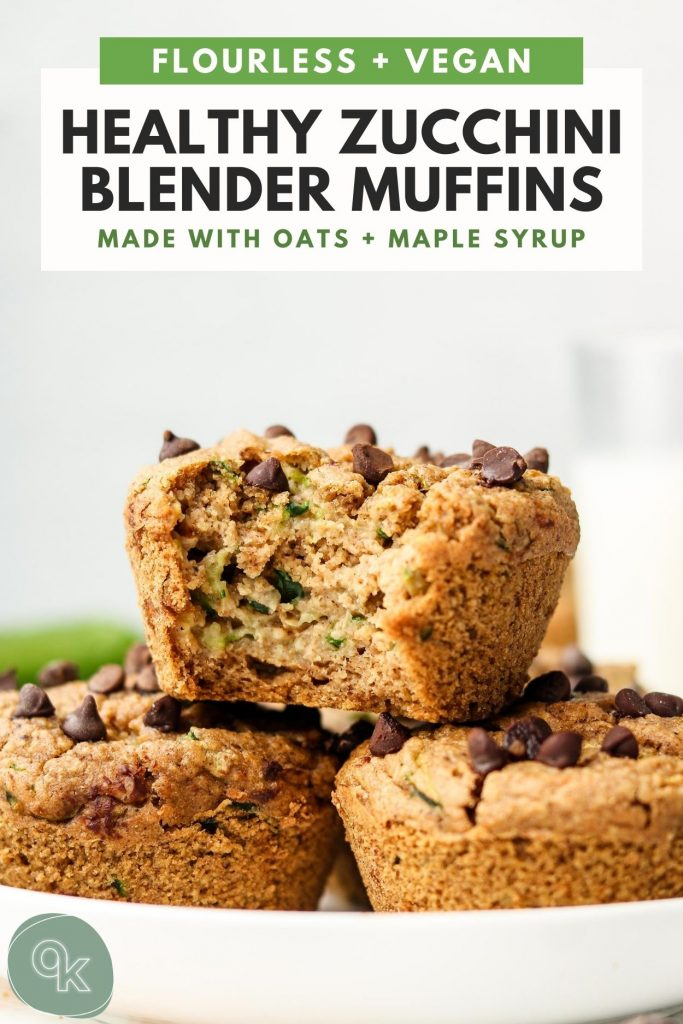 flourless healthy zucchini oatmeal muffins made in a blender recipe pinterest graphic