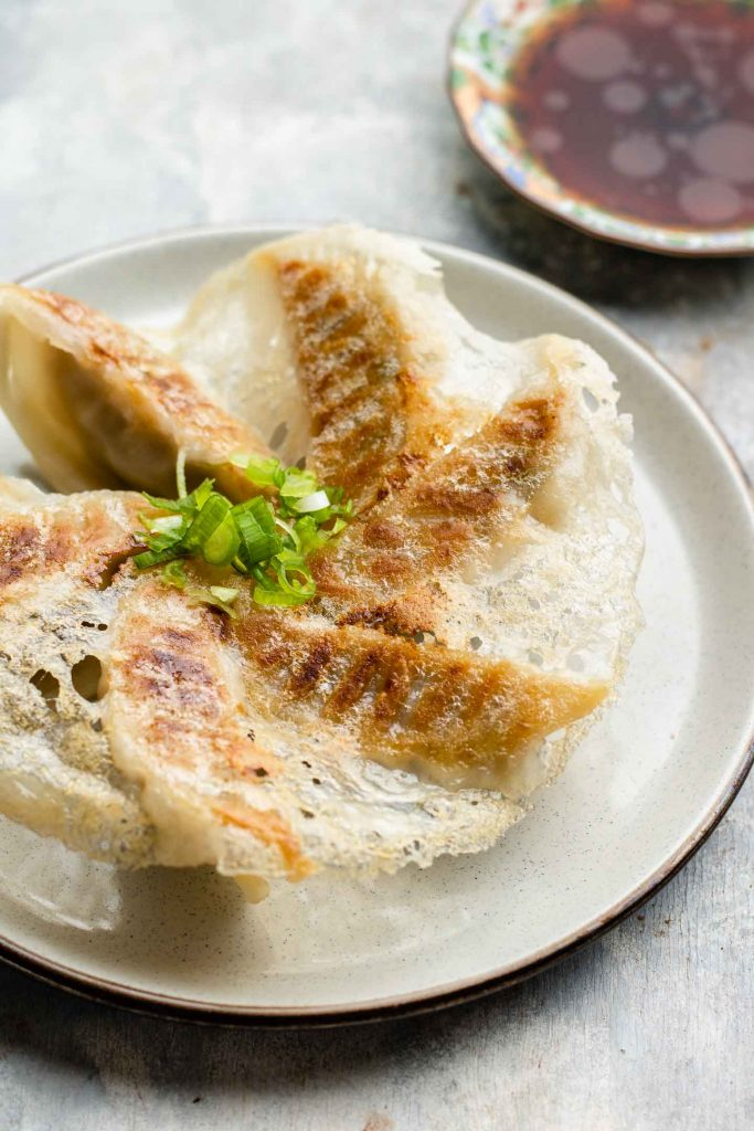 side angle shot of gyoza with lattice on a ceramic plate and green onions on top