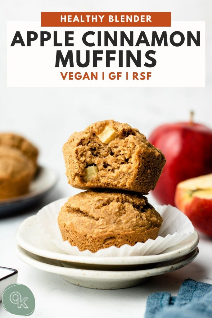 healthy blender apple cinnamon muffins stacked on a white plate with pinterest text over it