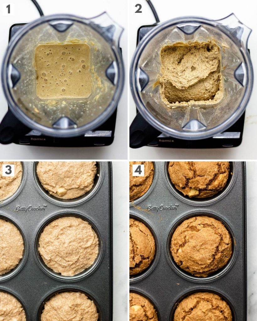 step by step how to make apple sauce blender muffin with oat flour in a vitamix