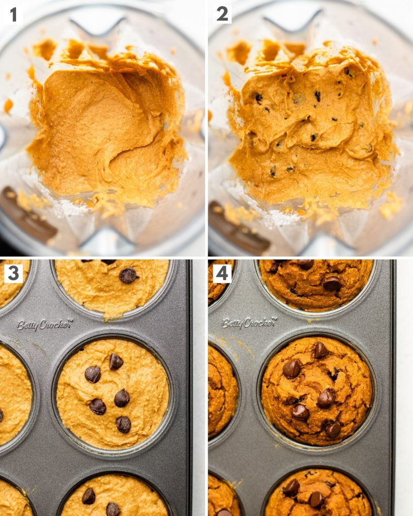 step by step how to make flourless oatmeal pumpkin muffins in a blender