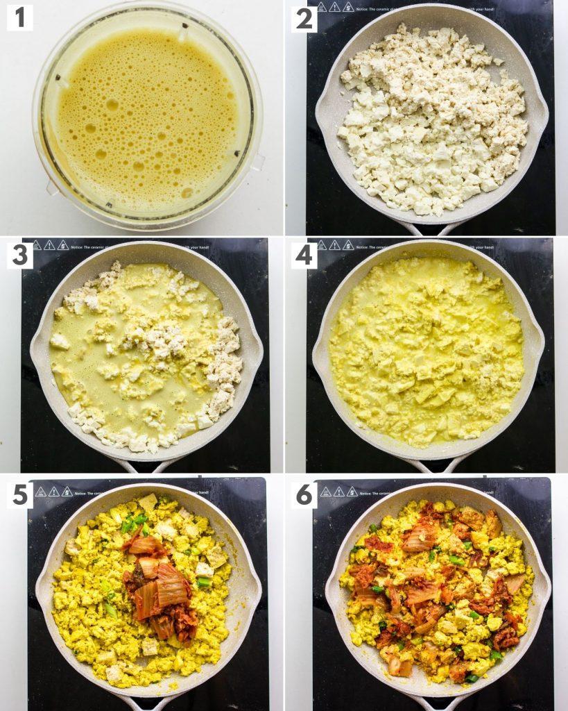 step by step how to make kimchi tofu scramble