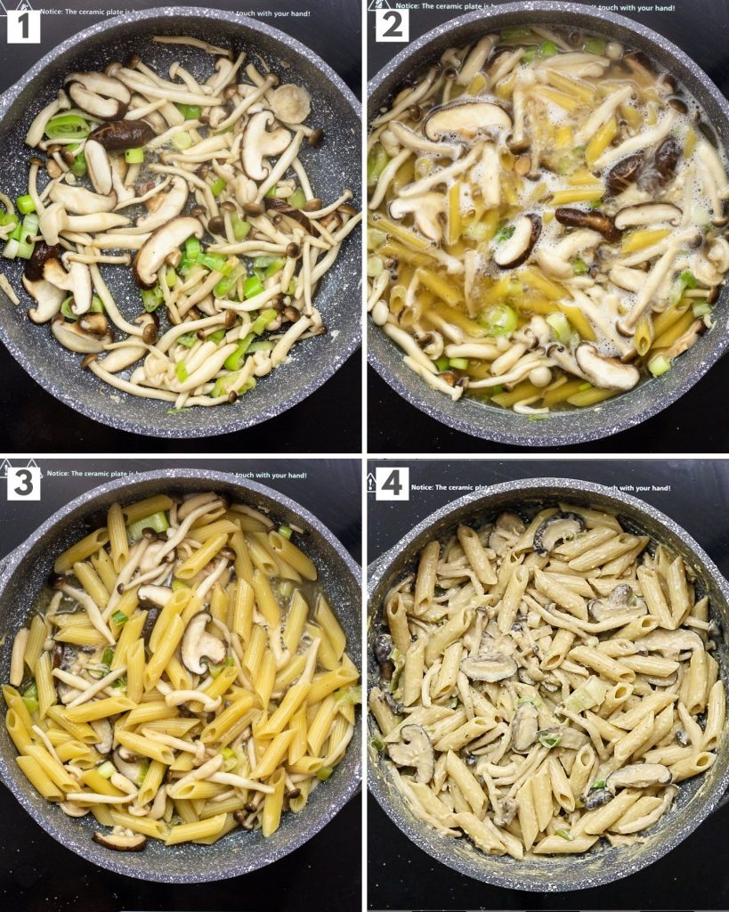 step by step how to make vegan creamy miso mushroom pasta in 1 pot