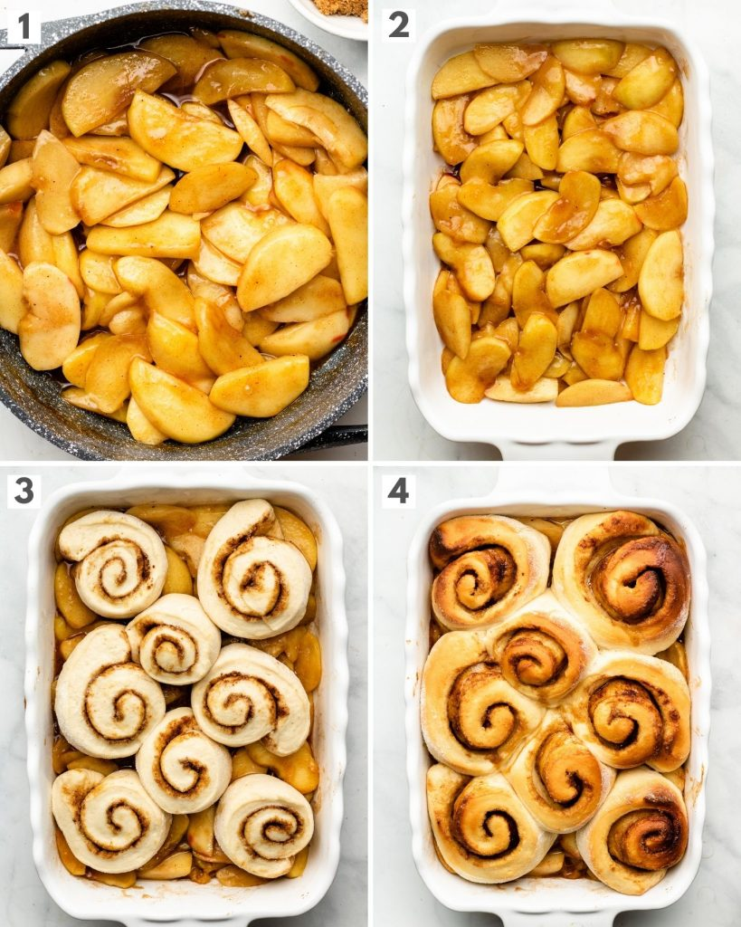 step by step how to make cinnamon roll topped apple cobbler