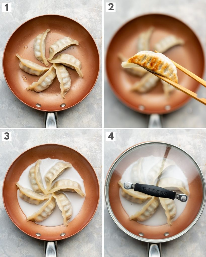 japanese dumplings in a small non-stick pan how to cook step by step photos
