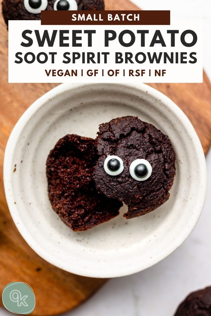 sweet potato brownies in a white bowl cut in half with candy eyes