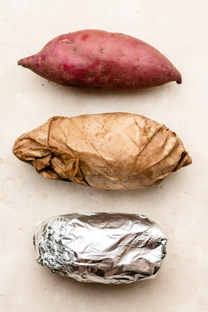 sweet potato naked, wrapped in wet paper towel and foil