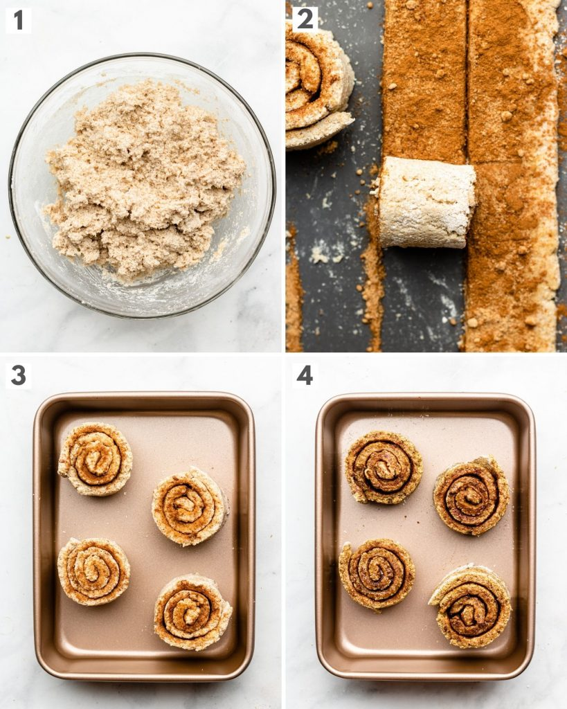 photos showing how to make yeast free cinnamon rolls