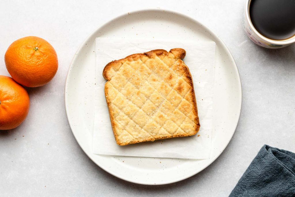 melon pan toast on a white plate