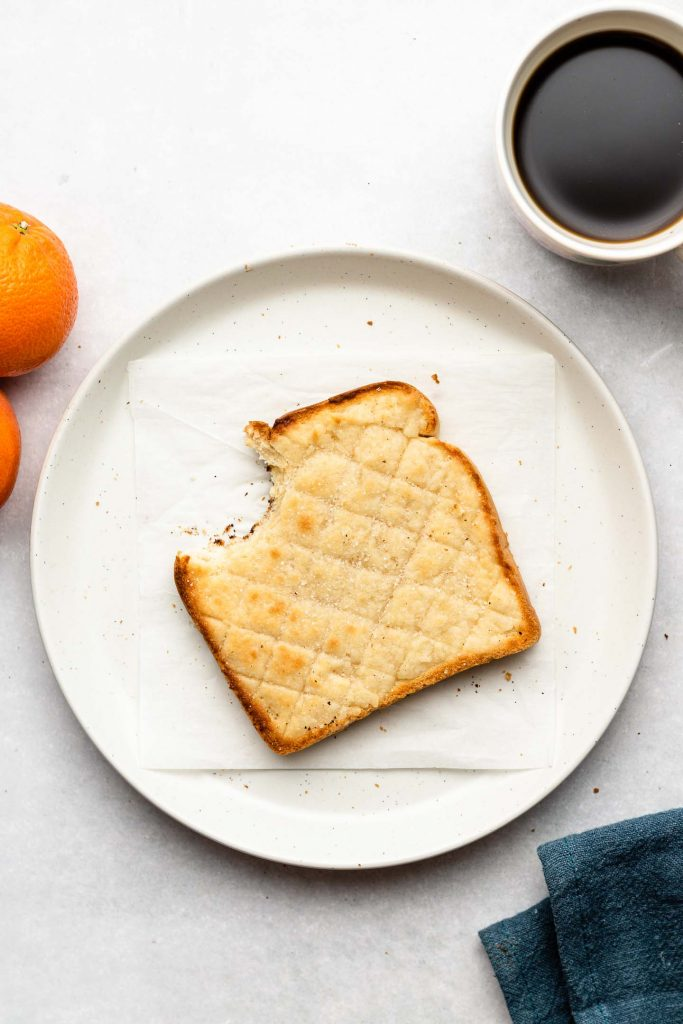 sugar cookie toast on a white plate
