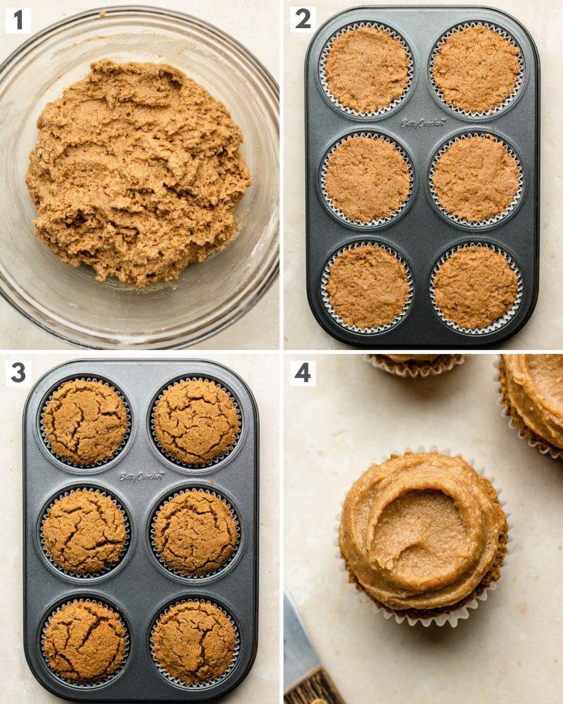 process shots of making chai cupcakes