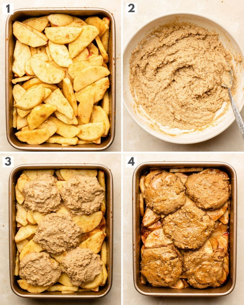 apple cobbler step by step making shots in a baking pan