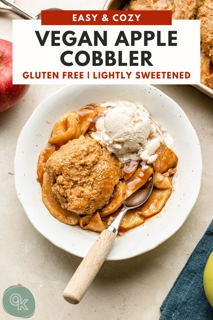 apple cobbler with biscuit in a white bowl with ice cream