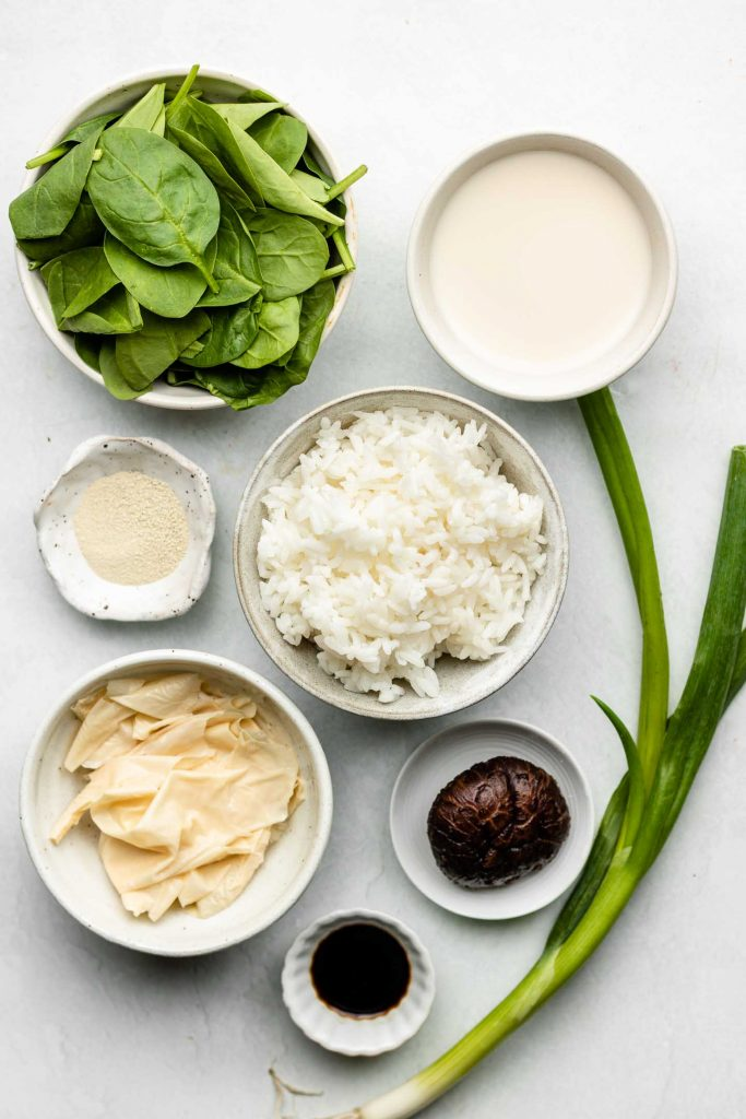 ingredients for zosui in bowls