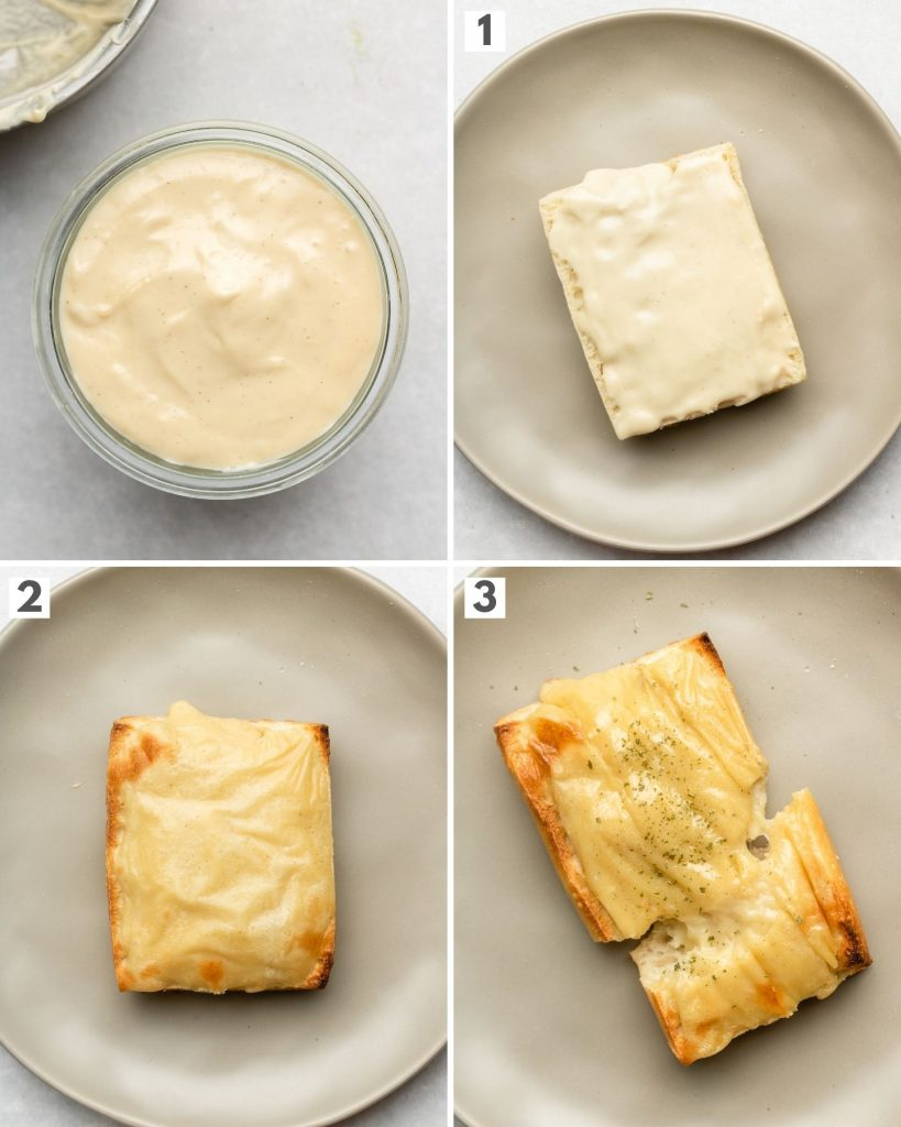 step by step how to brown vegan cheese for toast