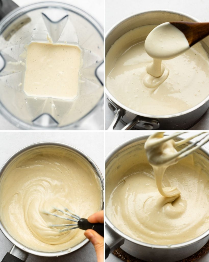 vegan cheese in the blender, saucepan and whisking it over heat