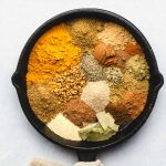japanese curry spices in a cast iron skillet