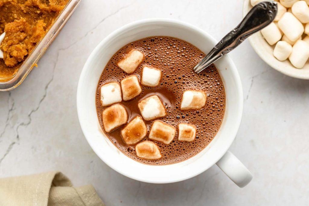 hot chocolate in a cup with marshmallows