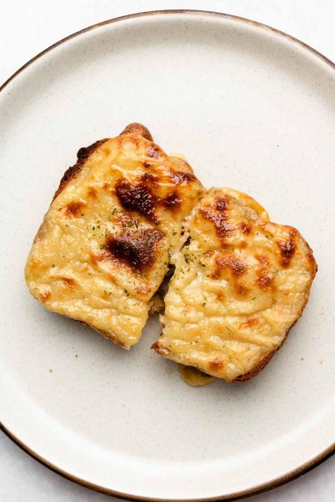 Vegan Mozzarella Cheese on toast broiled