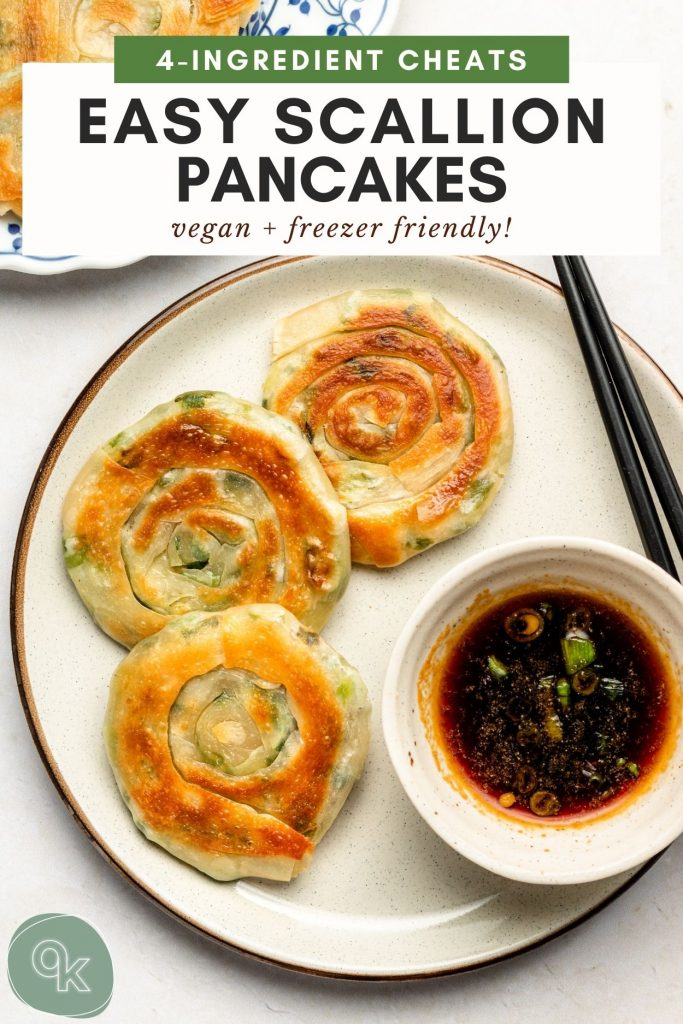 scallion pancakes on a ceramic plate with soy ginger dipping sauce pin for pinterest