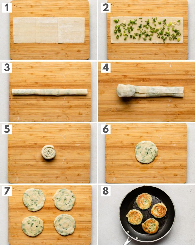 dumpling wrappers on a cutting board baking scallion pancakes