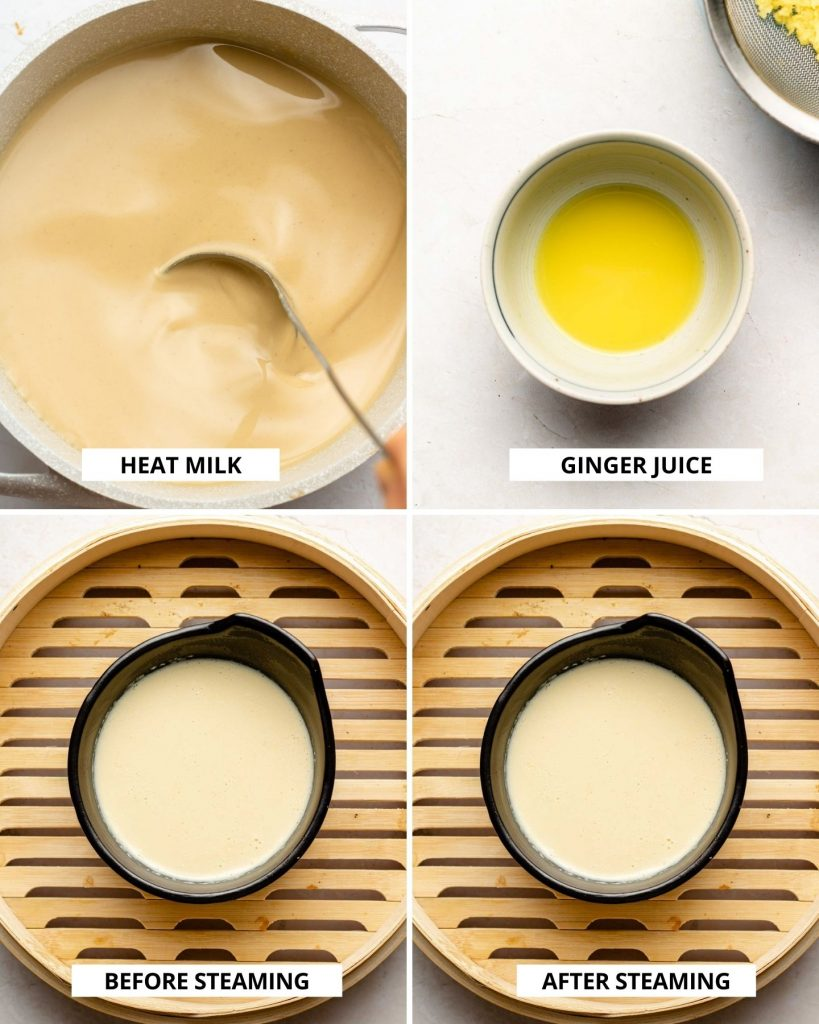 step by step how to steam soy milk to make pudding