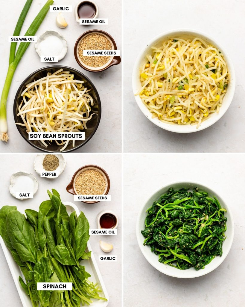 korean bean sprout side dish in top right bowl. korean spinach side dish in bottom right bowl