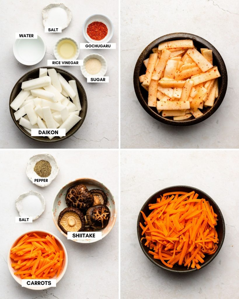 spicy pickled korean radish in a black bowl with saute carrots on bottom right in a black bowl