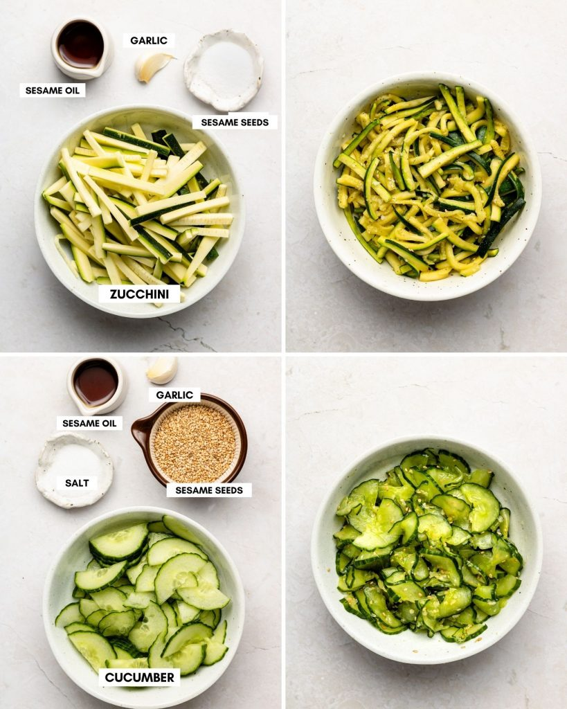 korean zucchini side dish in top bowl and pickled korean cucumbers in bottom white bowl