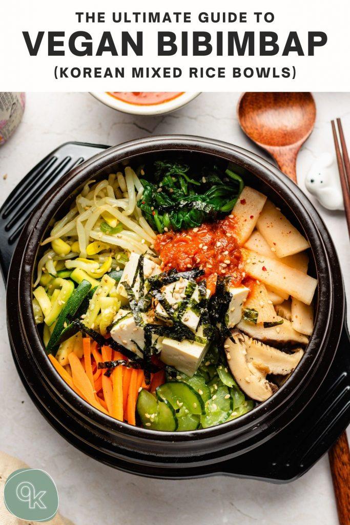 vegan bibimbap in a stone bowl dolsot with tofu pinterest text overlayed