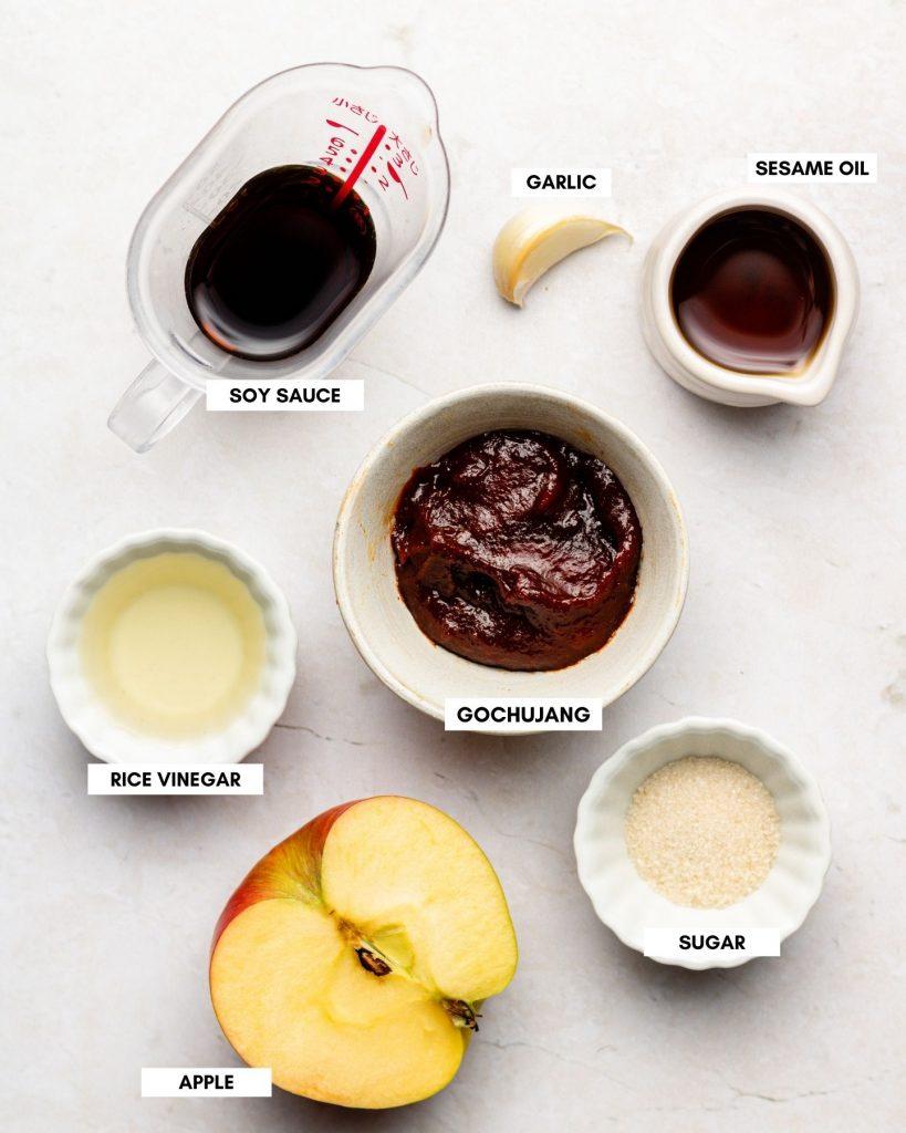 korean vegan bibimbap sauce in small white bowls