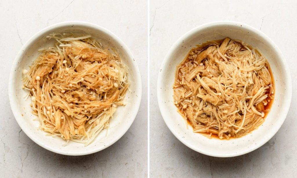 enoki mushrooms in a soy butter sauce in a white bowl