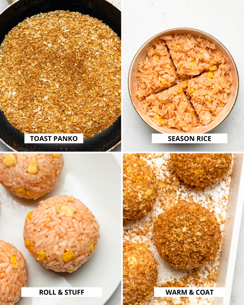 step by step how to make baked rice croquette