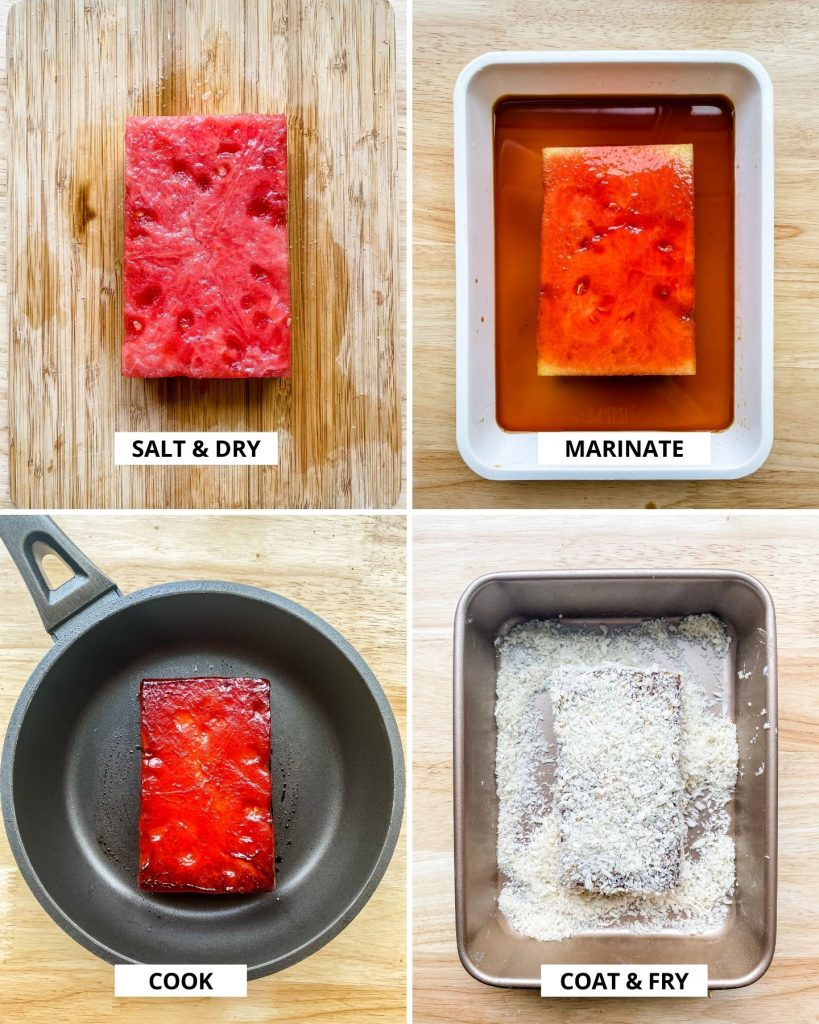 step by step how to make deep fried watermelon steaks