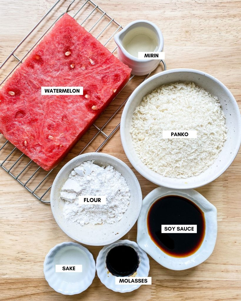 ingredients for watermelon katsu on a brown wooden background