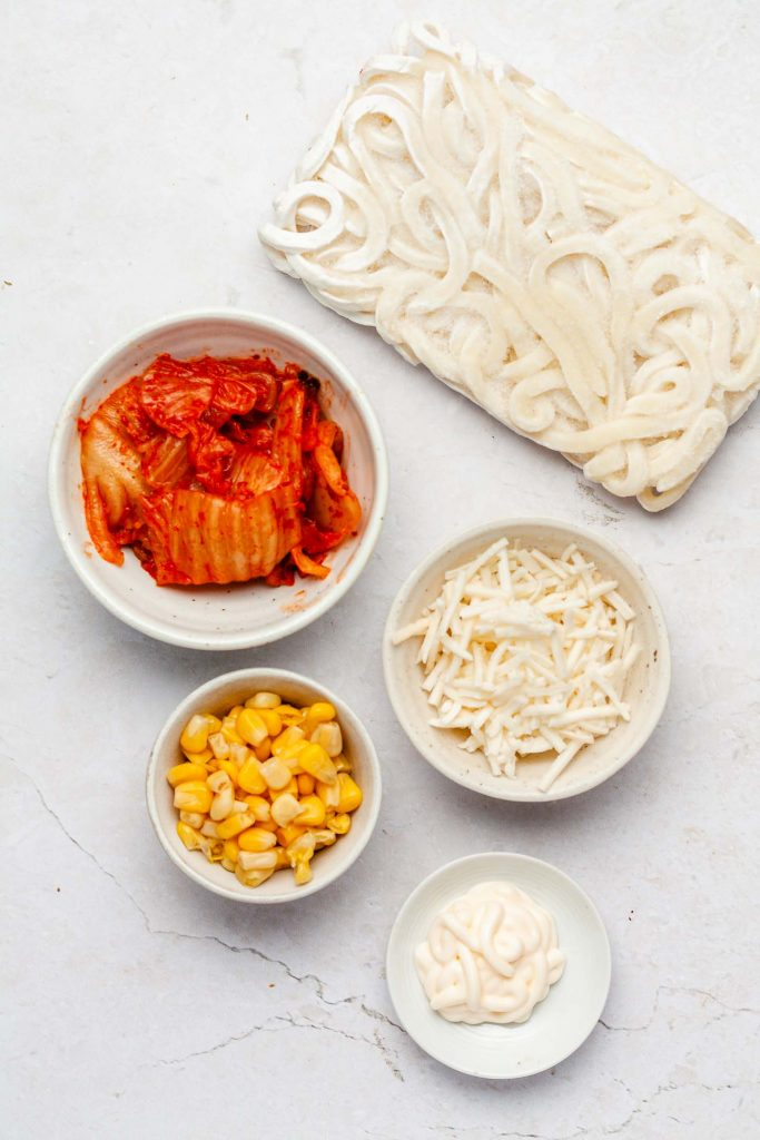 kimchi cheese ingredients in white bowls
