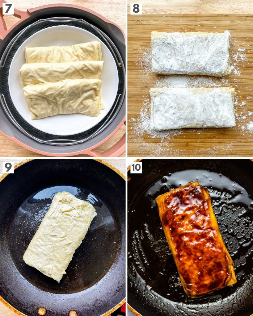 step by step how to make vegan teriyaki chicken with bean curd sheets