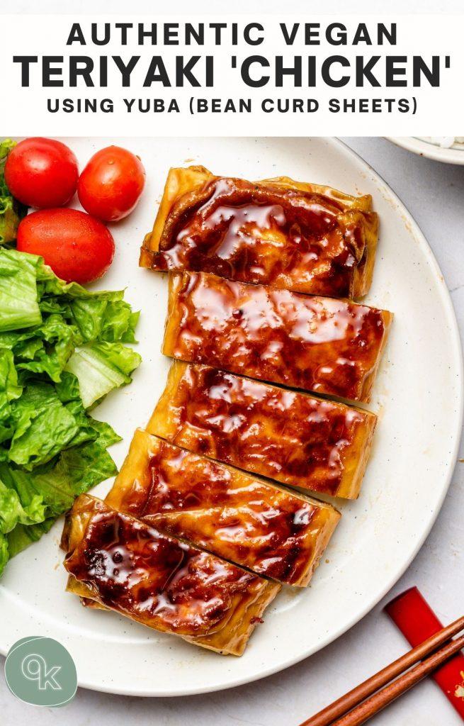 vegan teriyaki chicken on a white plate
