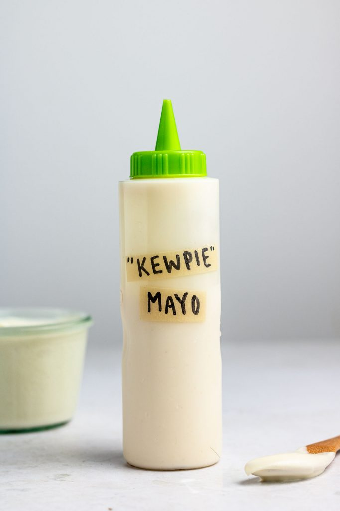 vegan kewpie mayo in a bottle with green lid
