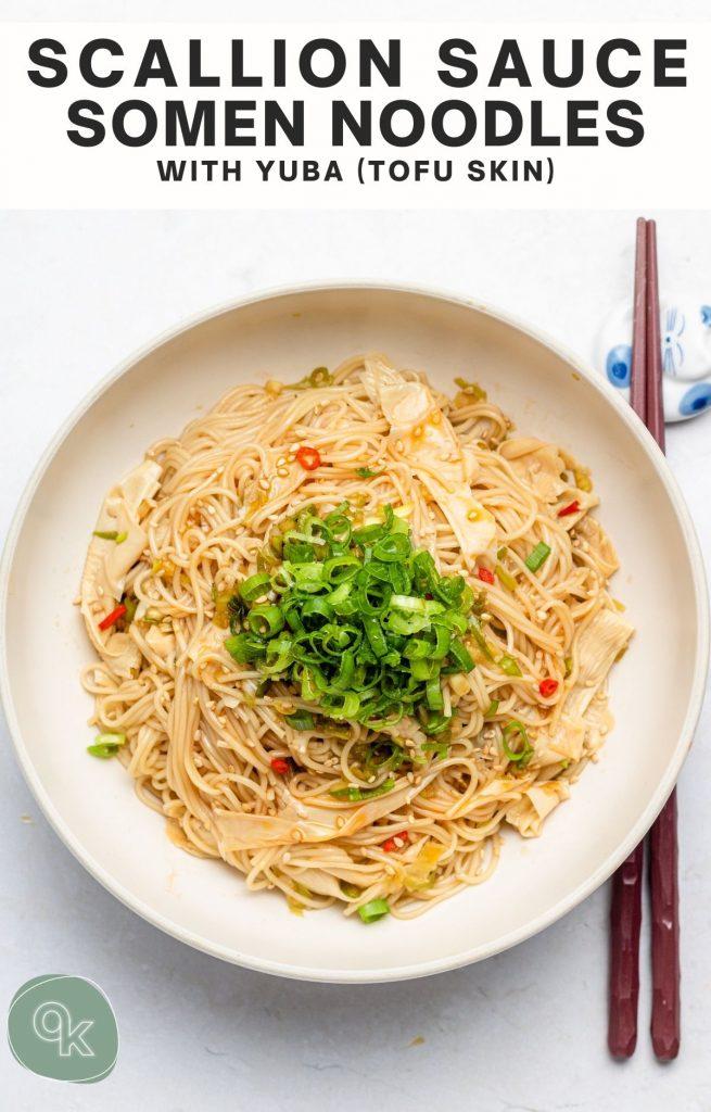 scallion sauce somen noodles with pinterest text