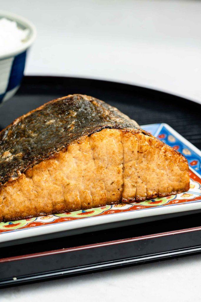 vegan mock tofu fish with nori and rice paper on top